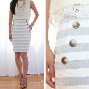 Loft Striped Gray Sailor Button Pencil Skirt 14